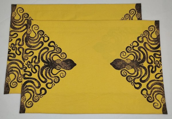 This lovely print combination was inspired by a customer request. A set of 2 yellow place mats with octopus print. Hand printed with my own hand carved stamp. The cotton canvas for the place mats is new & pre-washed. They are ready to be used & machine washable!