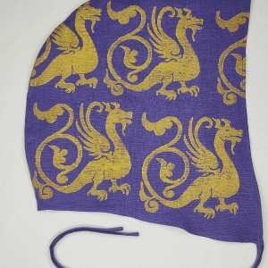 XXLarge purple linen coif/arming cap made from lovely purple linen fabric, handprinted in gold premium print with a hand carved 13th century inspired dragon stamp. Ready to wear, pre-washed fabric! The coif is machine washable!