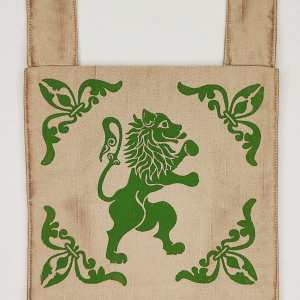 16/17th century rampant lion belt pouch made from gold colored fabric, completely lined and with reinforced seams, hand printed with hand carved 16/17th century inspired lion & 13th century fleur-de-lis stamp. New, ready to use & machine washable!