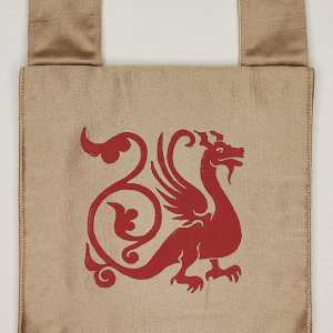 Dragon belt pouch made from gold colored fabric, completely lined and with reinforced seams, hand printed with hand carved 13th century inspired dragon stamp. New, ready to use & machine washable!