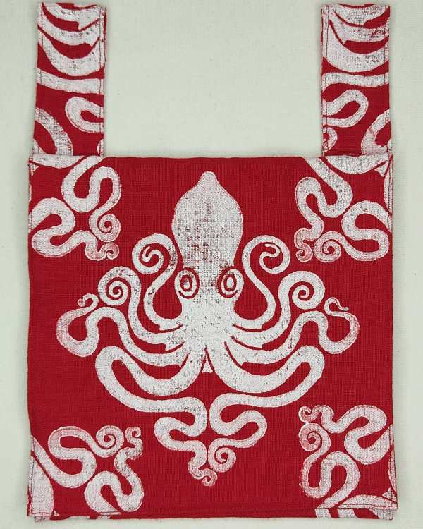 """Octopus belt pouch made from lovely """"Crimson"""" red heavy linen, completely lined with the same beautiful heavy linen and with reinforced seams, hand printed with a hand carved octopus stamp. New, ready to use & machine washable!"""