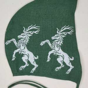 Medium size dark green linen coif/arming cap made from lovely 100% linen fabric, handprinted in white with a hand carvedrampant stag stamp. Ready to wear, pre-washed fabric! The coif is machine washable!