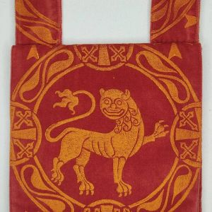 Lion belt pouch made from red velvet fabric, completely lined with red cotton fabric, hand printed with a hand carved 12th century inspired lion stamp. New, ready to use & machine washable!