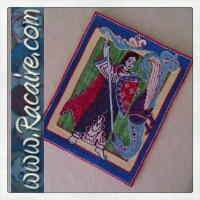 2016-05 - Racaire - 12th century Michael and the Dragon banner - hand embroidery - split stitch - SCA