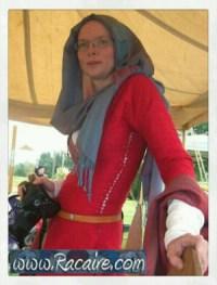 Racaire Meridian Grand Tournament - red 12th century silk dress - slit neckline and side lacing - neckline stress point reinforcement