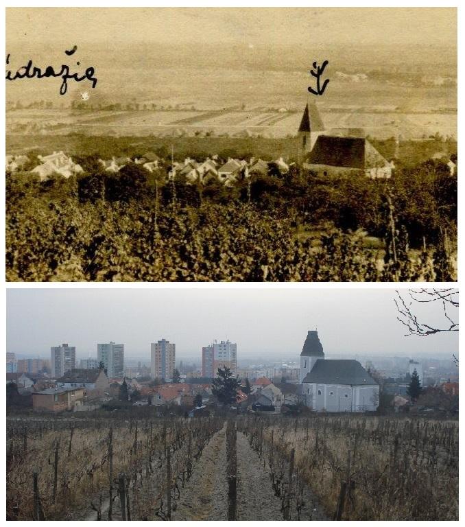 Porovnanie historickej fotografie a záberom zo súčasnosti: Rača v roku 1923 a dnes