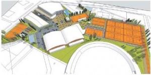 Projekt 1: Areálu dominujú tenisové haly, kurty, bazén a krytá multifunkčná hala.