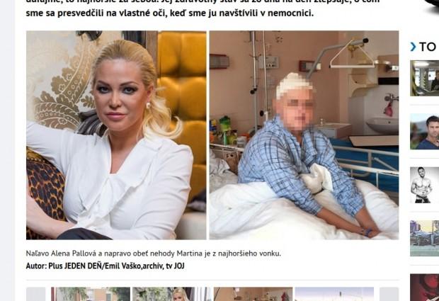 Denník Plus 1 deň priniesol fotografiu Martiny Máťušovej priamo z nemocničného lôžka...