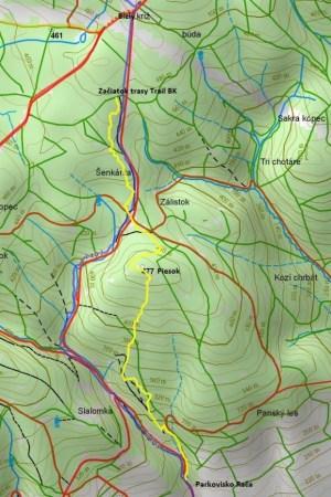 Trail Biely kríž: Mapka trate, ktorá rozširuje ponuku športovania.