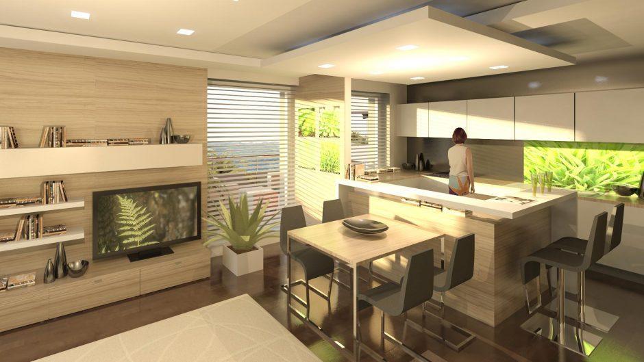 Dispozícia jednotlivých bytov zahŕňa spoločný priestor obývacej miestnosti akuchyne, ktorý je prepojený, no zároveň opticky predelený od jedálenskej časti a vstupu na balkón. Zvyšná časť bytu má už intímny charakter.