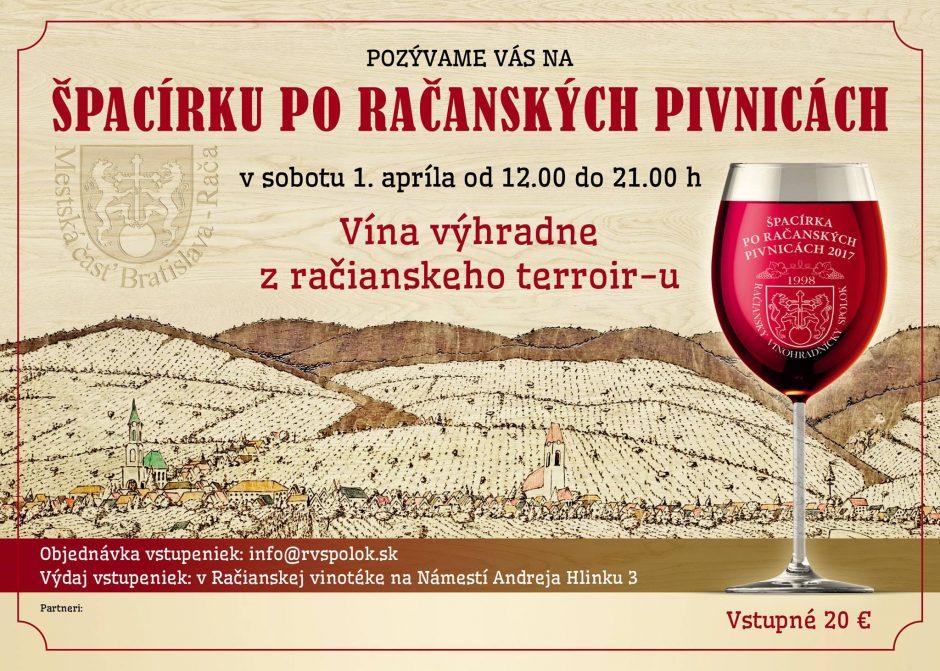 Prvá Špacírka po račanských pivnicách sa uskutoční v termíne 1. apríla 2017.