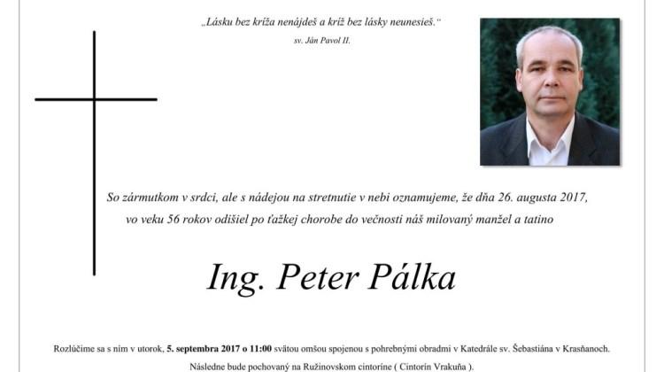 Peter Palka parte smútočné oznámenie