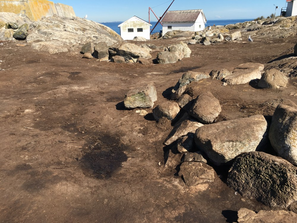 medium resolution of some damage by sealions to the aboriginal burial cairns