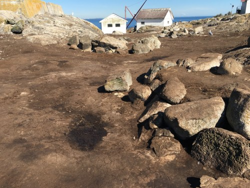small resolution of some damage by sealions to the aboriginal burial cairns