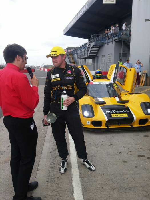 Jonny being interviewed after winning Race 1