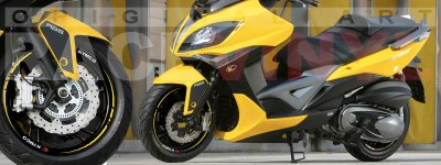 Racevinyl Kymco spuer dink venom xciting agility Adhesivos pegatina vinilo llanta moto vinyl rim sticker stripe race amarillo