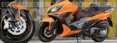 Racevinyl Kymco spuer dink venom xciting agility Adhesivos pegatina vinilo llanta moto vinyl rim sticker stripe race naranja