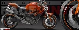 Racevinyl pegatinas llanta moto vinilo sticker rim wheel Ducati Monster naranja