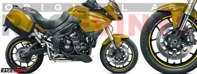Racevinyl pegatinas llanta moto vinilo sticker rim wheel KTM Triumph Tiger 1050 amarillo