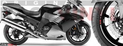 Racevinyl pegatinas llanta moto vinilo sticker rim wheel Kawasaki ZZR 1400 ZXR 14 blanco