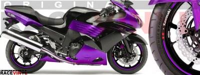 Racevinyl pegatinas llanta moto vinilo sticker rim wheel Kawasaki ZZR 1400 ZXR 14 violeta