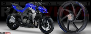 Racevinyl Kawasaki Z1000 ARROW pegatina vinilo llanta adhesivo rim sticker stripes wheel azul