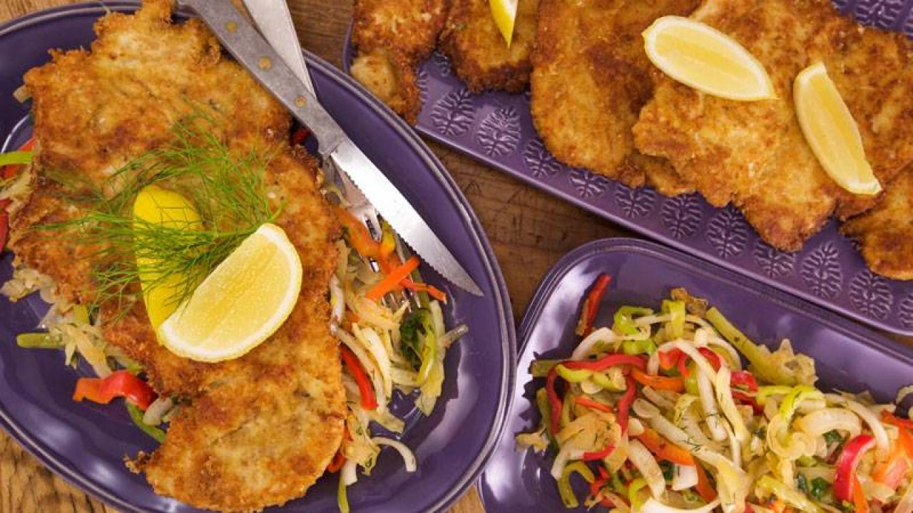 Chicken Cutlets with Fennel Peppers and Onions  Rachael