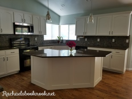 Coastal Kitchen Makeover with white cabinets