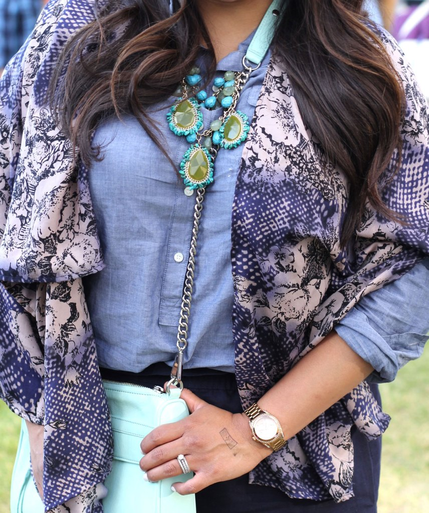 Rebecca Minkoff, Outfit, Inspiration, Kimono, How to wear a kimono, michael kors, statement necklaces, outfit inspiration