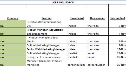 Job Application Spreadsheet Template