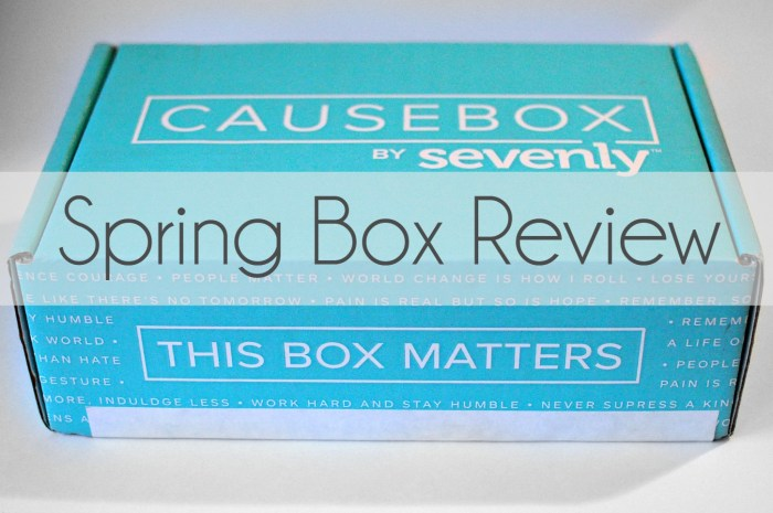 Causebox Review: Spring #Causebox02 The world's first subscription box for socially conscious goods - the CAUSEBOX by Sevenly. Here is my honest review of the first Causebox!