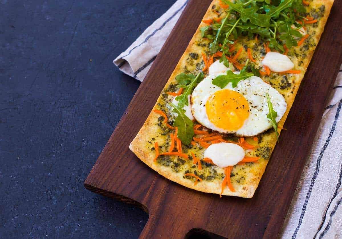 Pesto Flatbread Pizza with Fried Egg and Arugula  Rachel