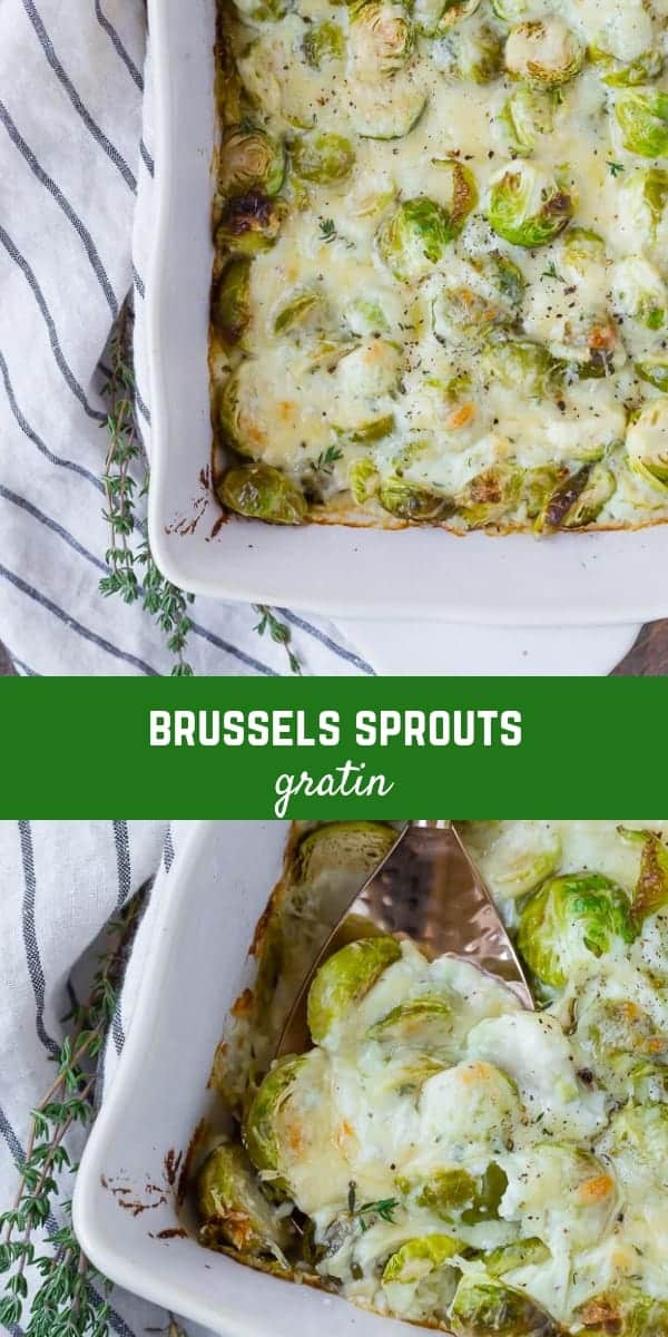 Lightly browned and bubbling with a creamy Gruyere sauce, you'll find that Cheesy Brussels Sprouts au Gratin is irresistible. A perfect dish to serve for Thanksgiving, you won't want to wait that long to try this delicious gratin.