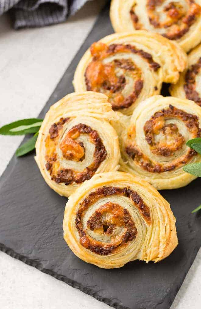Image of sausage pinwheels made with puff pastry.