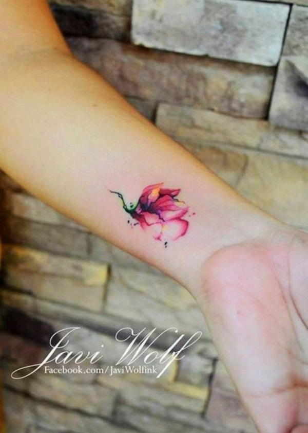 Small Colored Flower Tattoo Designs