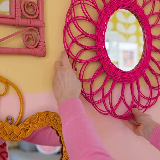 Wicker wall - Rachel hanging pink mirror