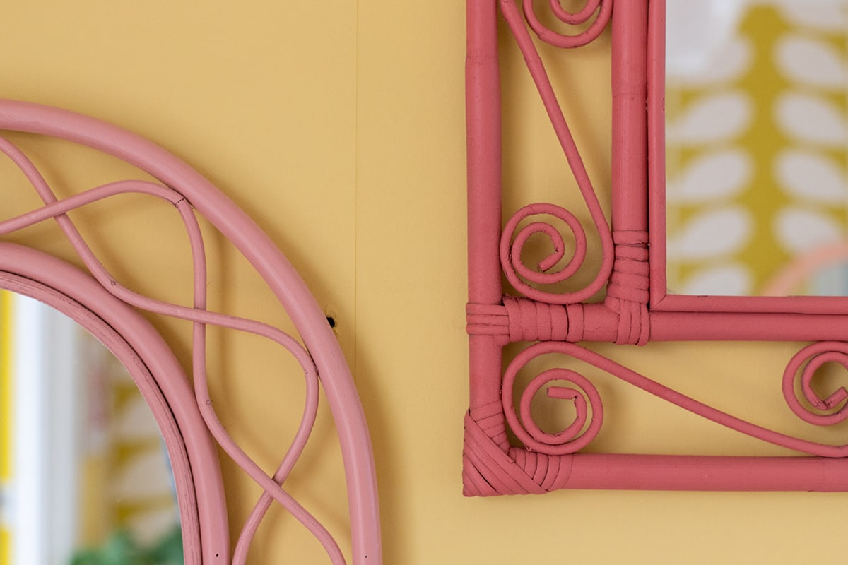 Wicker wall - close up of upcycled wooden mirror frames