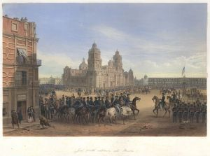 General Winfield Scott Entering Mexico City in 1847. Immediate image source: http://www.dsloan.com/Auctions/A22/item-kendall-nebel.html Originally published in George Wilkins Kendall & Carl Nebel: The War between the United States and Mexico Illustrated, Embracing Pictorial Drawings of all the Principal Conflicts, New York: D. Appleton; Philadelphia: George Appleton [Paris: Plon Brothers], 1851.