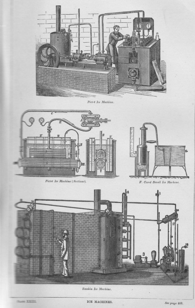 Three of the thirty three machines for making ice promoted by inventors and companies in the United States and most European companies.  Two here are French, one American.