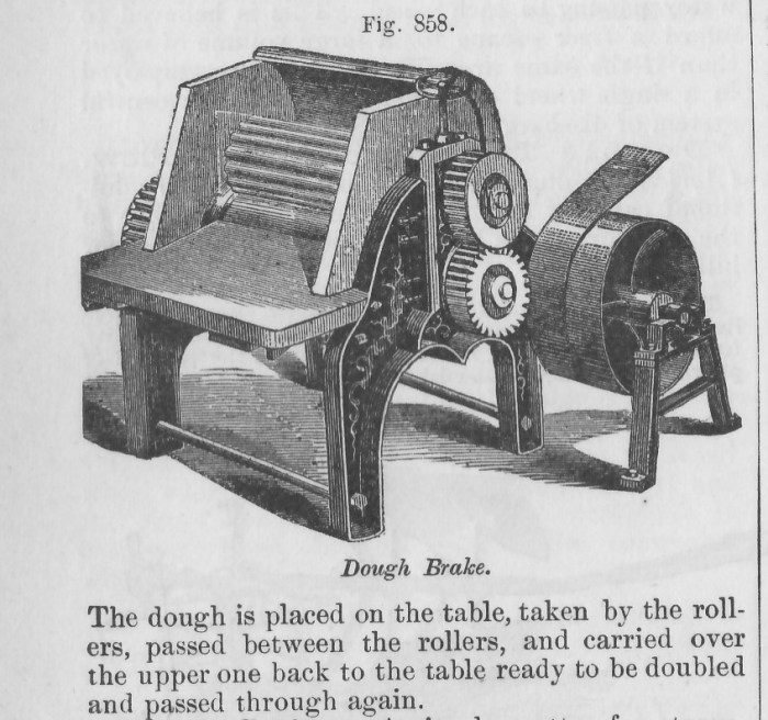 A dough brake that works by passing the dough back and forth through a series of rollers.
