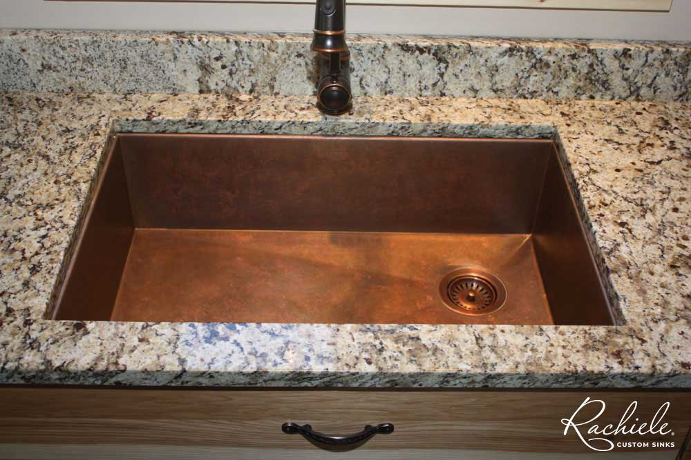 under mount kitchen sink embroidered towels copper sinks custom made by rachiele in the usa showing right rear drain is key to value of our you can wash on and set off dry
