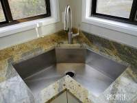 Corner kitchen sink: Available in copper and stainless
