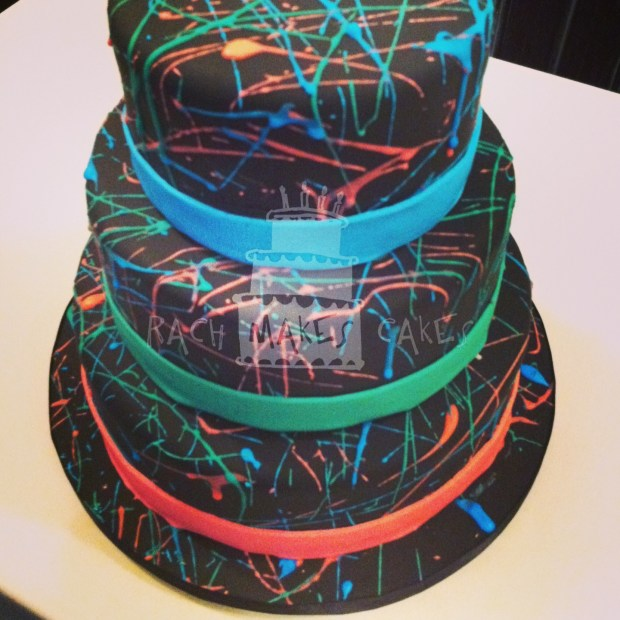 Brilliant Splatter Paint Cake Rach Makes Cakes Personalised Birthday Cards Sponlily Jamesorg