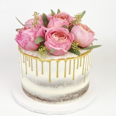 Semi Naked Cake With Gold Drips