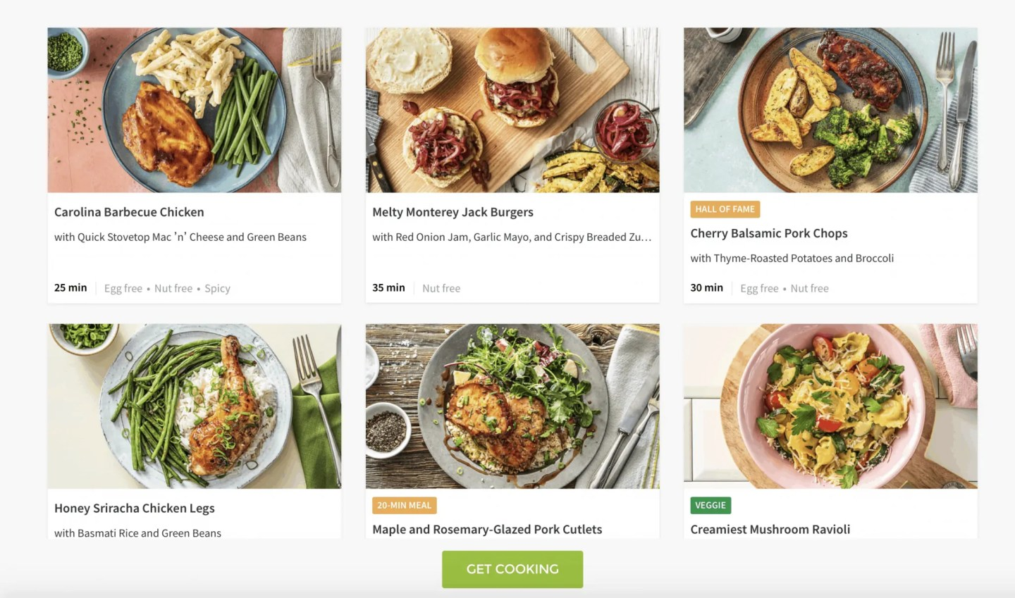 HelloFresh Menu
