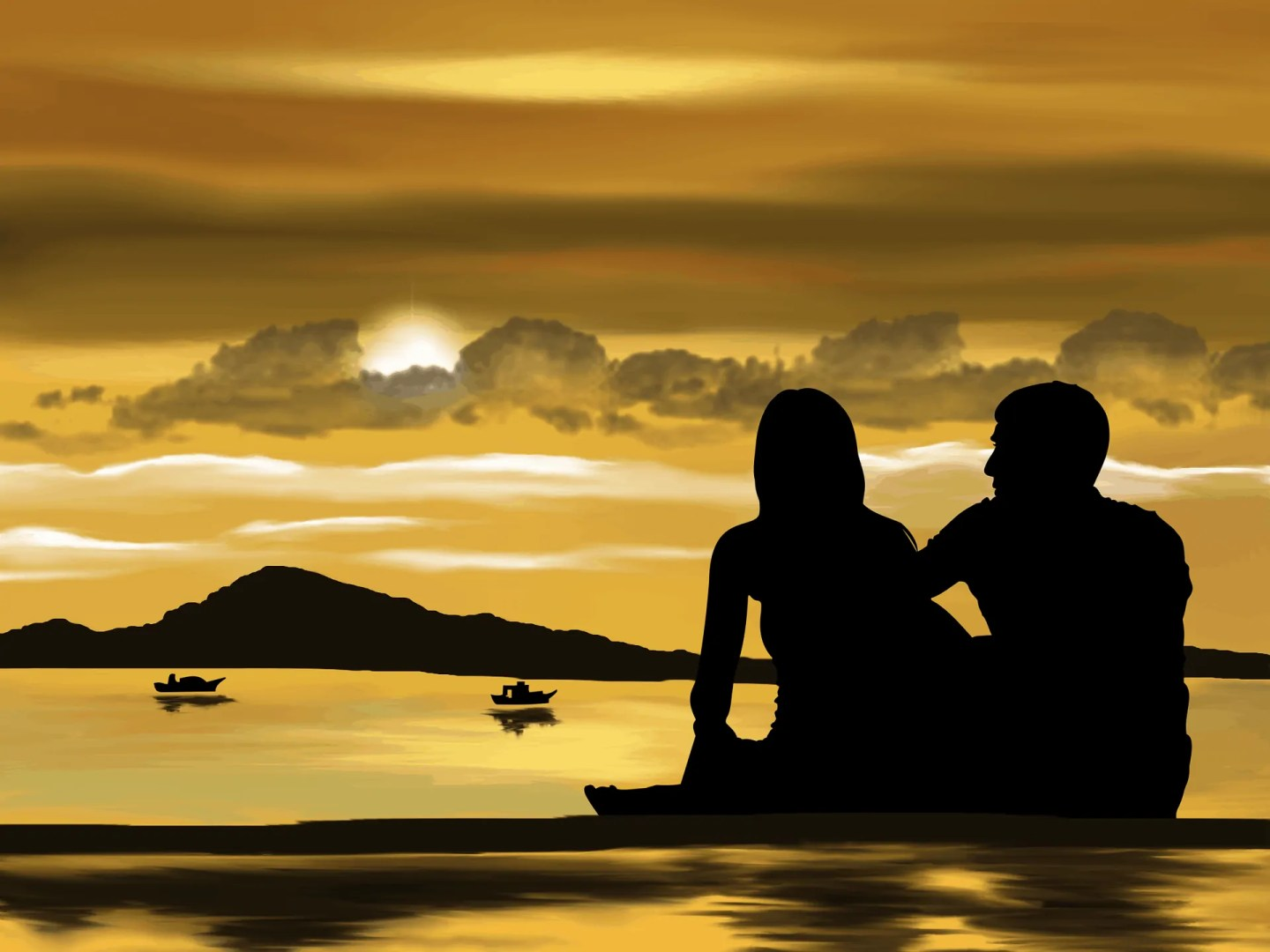 Couple staring at the sunset