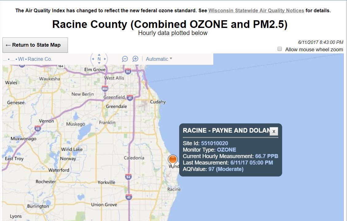 Ozone Alert Issued For Racine County Until 11 pm