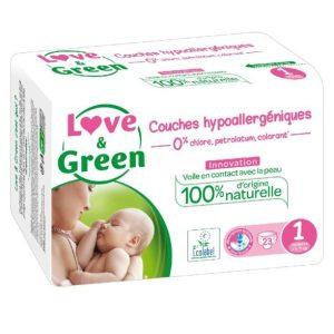Love & Green Taille 1 Biodégradable , écologique et naturel
