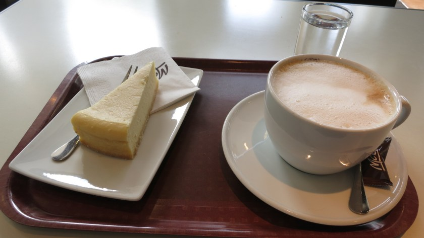 Mc Donalds cheese cake and cappuccino