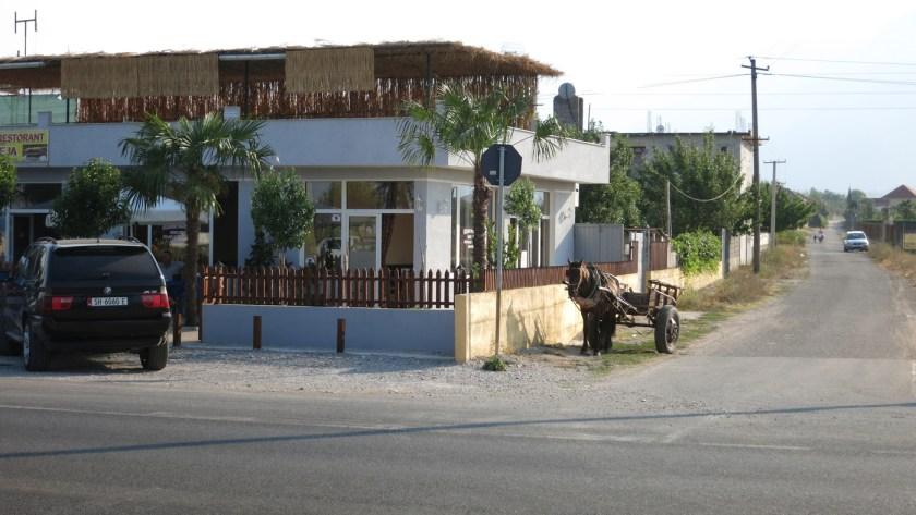 Albanien BMW und Pferdekutsche